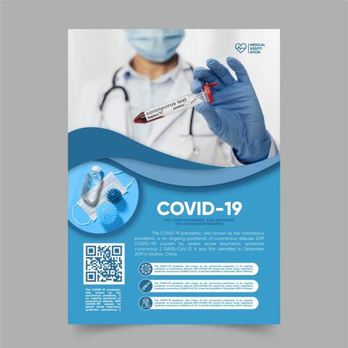 Poster template for medical products with coronavirus with photo vector