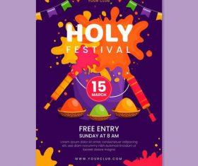 Poster template holi festival vector