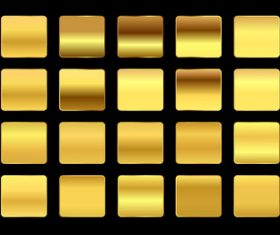 Premium yellow gold gradients swatches big set vector