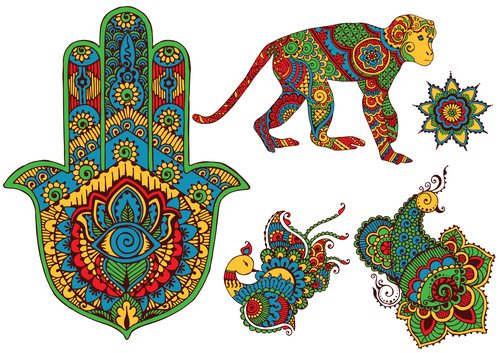 Pretty ethnic style pattern vector