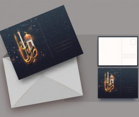 Pretty ramadan mubarak greeting card vector