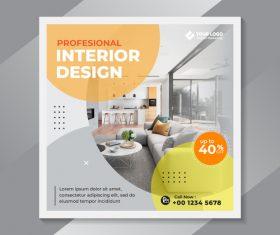 Profesional interior design flyer vector