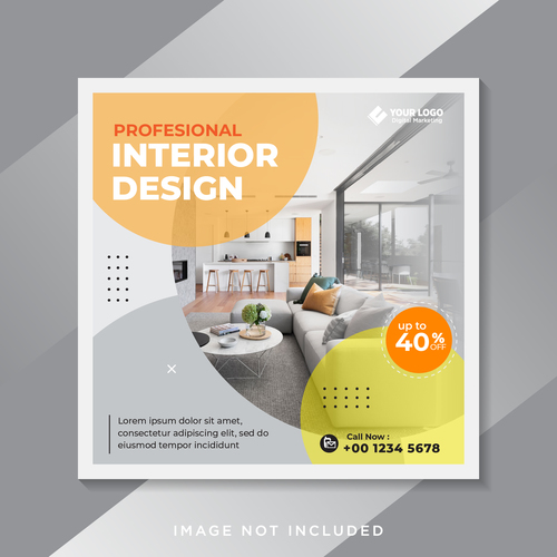 Profesional interior design flyer vector