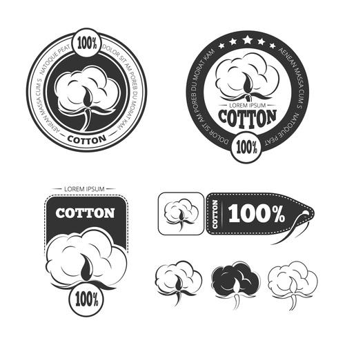 Pure cotton emblem vector
