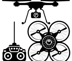 Quadrocopter black silhouette vector