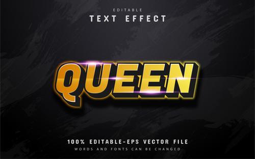 Queen text 3d gold text effect vector