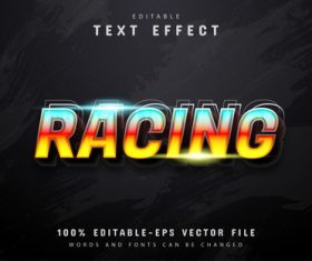 Racing text 3d gradient style text effect vector