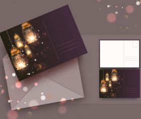 Ramadan mubarak greeting card vector