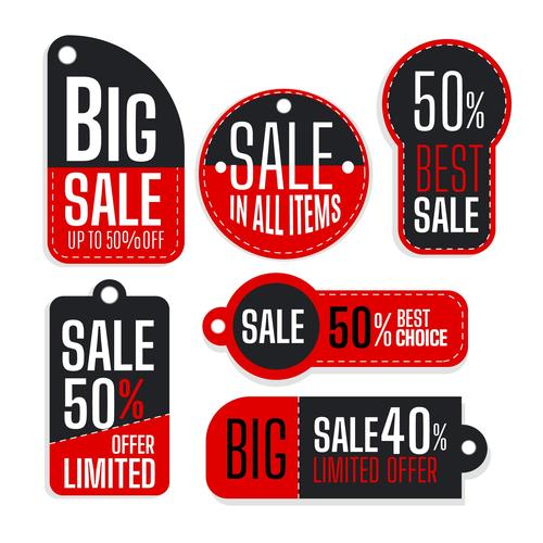 Red and black sales flat label design vector