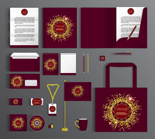 Red background corporate golden identity collection vector
