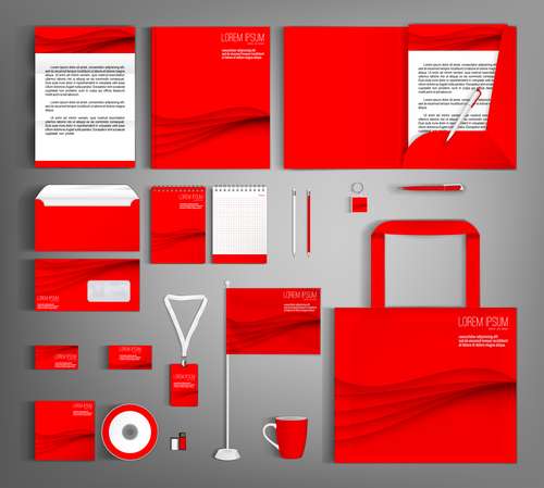 Red cover corporate stationery collection vector