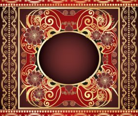 Red floral pattern decorative vector background