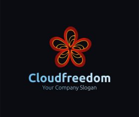 Red freedom logo design vector