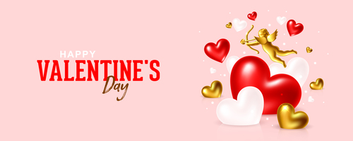 Red white hearts cupid vector