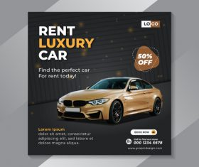 Rent luxury car flyer vector