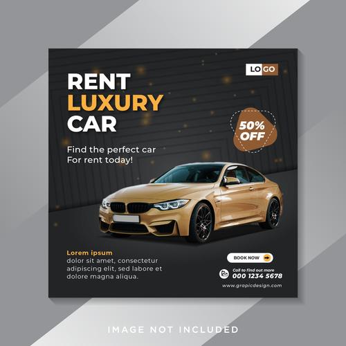 Rent luxury car flyer vector