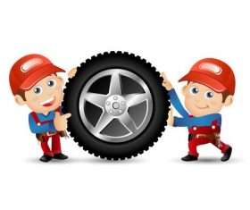 Repairman and tire cartoon illustration vector