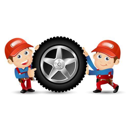 Repairman and tire cartoon illustration vector