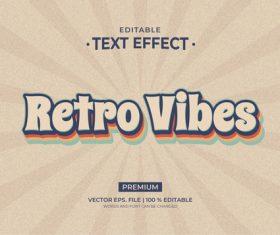 Retro Vibes editable text effect vector
