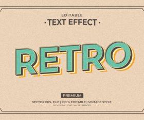 Retro style editable text effect vector