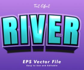 River 3d text style effect vector
