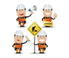 Road maintenance worker cartoon vector