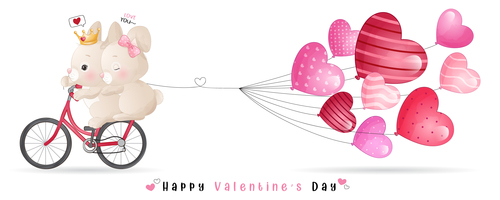 Romantic Valentine's Day theme greeting card vector
