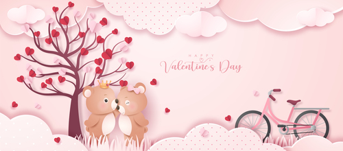 Romantic bear couple valentine's day greeting card vector