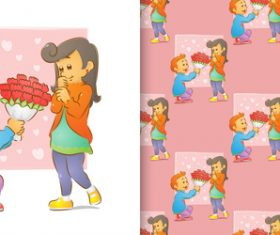 Romantic gift cartoon seamless background vector