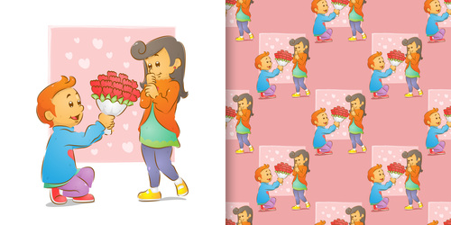 Romantic gift cartoon seamless background vector