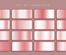 Rose gold pink metallic gradients set vector