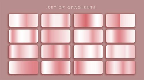 Rose gold pink metallic gradients set vector