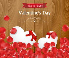 Rose petals and heart shape vector