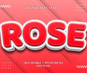 Rose text 3d red style text effect vector
