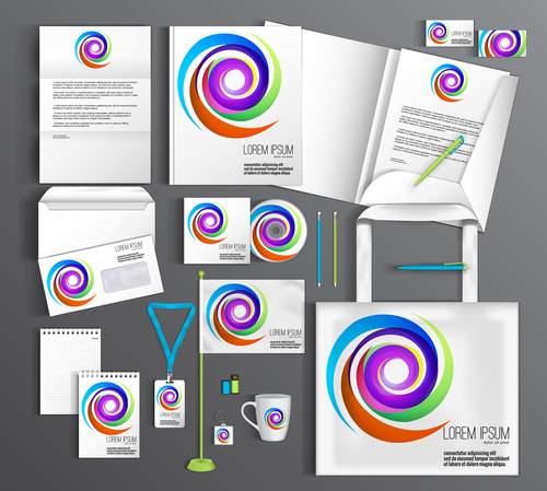 Rotating abstract cover corporate identity stationery collection vector