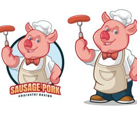 Sausage pork character design vector