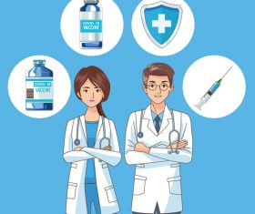 Scene in hospital doctors with vaccine illustration vector