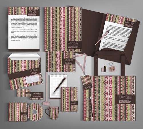 Seamless cover corporate stationery collection vector