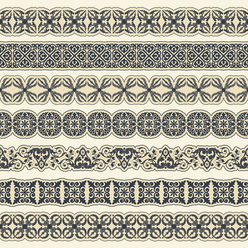 Set of borders with ornaments in vector