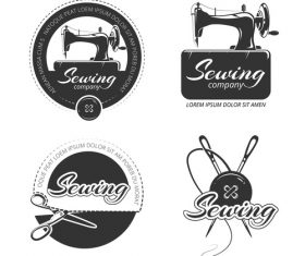 Sewing machine company emblem vector