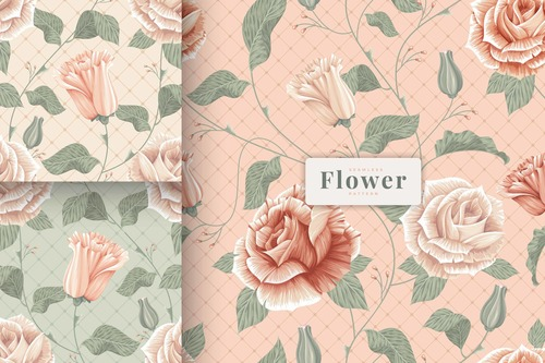 Shabby chic beautiful flowers pattern vector
