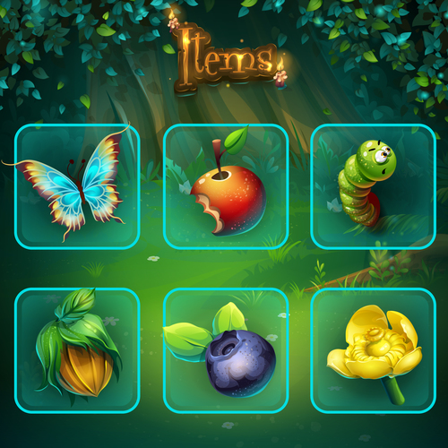 Shadowy forest GUI set items buttons and icon vector