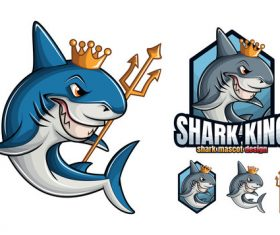 Shark king cartoon design vector