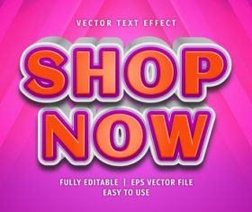 Shop now text 3d style text effect vector