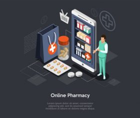 Shopping concept online pharmacy vector