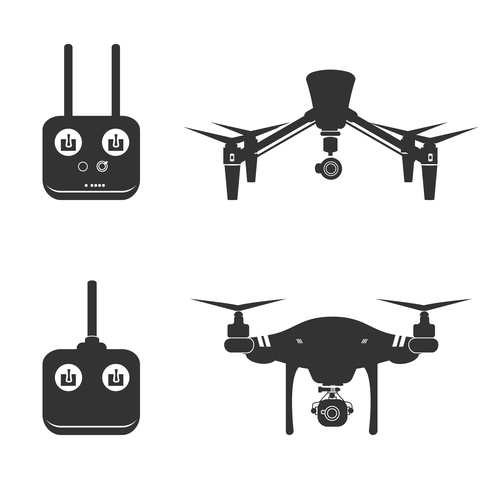 Silhouette drone and controller vector
