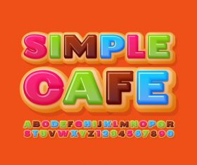 Simple cafe enlightenment English teaching alphabet vector