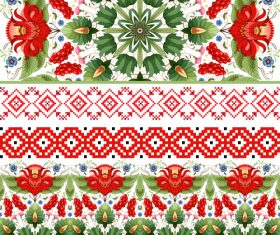 Six Ukrainian decorative style patterns vector