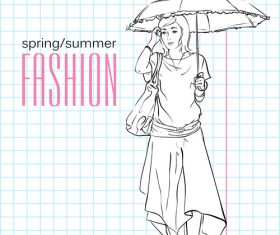 Sketch women holding umbrellas vector