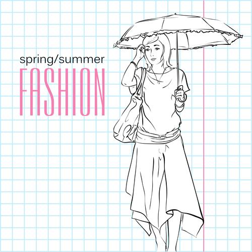 Sketch women holding umbrellas vector
